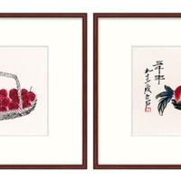 橙舍 新中式餐廳掛畫雙聯裝飾畫飯廳國畫齊白石《紅茘 雙壽》