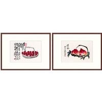 橙舍 新中式餐厅挂画双联装饰画饭厅国画齐白石《红茘 双寿》