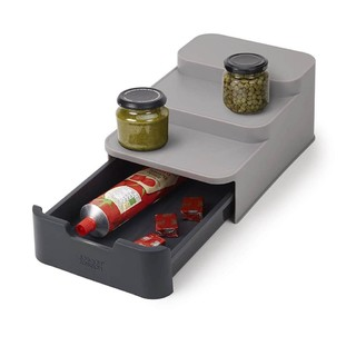 Joseph Joseph Cupboard Store Compact Tiered Organiser With Drawer - Grey