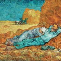 現代簡約北美式歐式梵高名人人物風景油畫《午休》 90*73cm