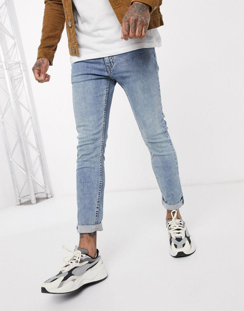Levi's Youth 519 super skinny fit hi-ball roll jeans in pickles advanced stretch light wash