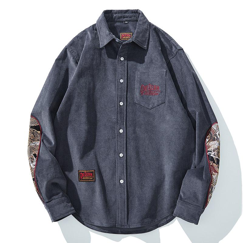 EWISER 一维苏 男士灯芯绒长袖衬衫 19086