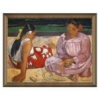 人物油畫《海灘上》墻裝飾畫掛畫 典雅栗(偏金色) 77×98cm