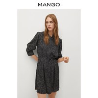 MANGO女装连衣裙2020秋冬新款动物印花褶皱细节长袖系扣袖连衣裙