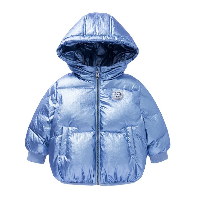 GOLDFARM 高梵 童装2020新款儿童羽绒服短款宝宝小熊背包发光印章白鸭绒正品