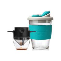 朗特樂(Le Bronte)手沖咖啡過濾杯隨行杯雙層濾網滴漏美式過濾器便攜戶外免濾紙咖啡壺咖啡具套裝 雙層濾網+托杯+MC藍色340ml