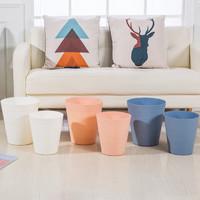 牧月 素色创意简约圆型垃圾桶 厨房客厅无盖大号垃圾筐 干湿分类方型垃圾桶 圆型大号蓝色