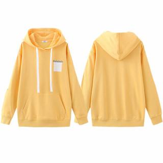 balabala 巴拉巴拉 中大童橙色卫衣T恤2020百搭宽松连帽系带上衣S6213180102