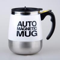 米良品 創意自動攪拌咖啡杯馬克水杯 家用便攜不銹鋼咖啡杯子懶人電動咖啡杯辦公室磁力攪拌杯 白色
