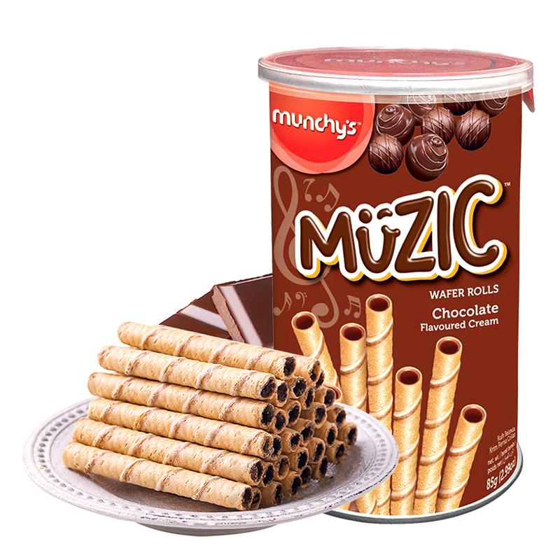 munchy's 马奇新新 巧克力注芯蛋卷 85g*3罐