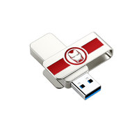 爱国者(aigo)64GB USB3.0 U盘 U330漫威联名款 金属旋转防护 银色 读速可达150MB/s