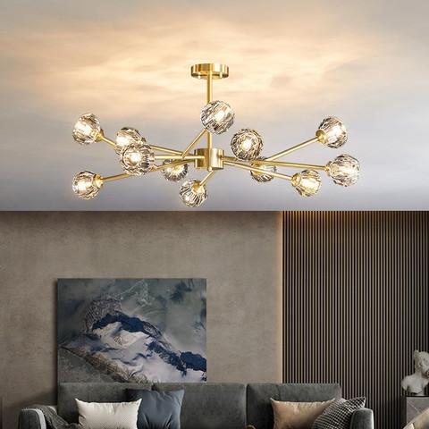 金幻全铜客厅吊灯轻奢客厅灯北欧灯具现代简约创意水晶分子卧室灯
