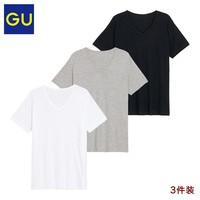 GU 极优 325959 男士短袖T恤 3条装