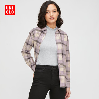 优衣库 女装 法兰绒格子衬衫(长袖) 432606 UNIQLO