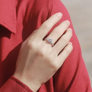 ARMASA 阿玛莎 女士皇冠925银莫桑钻戒指 D VVS