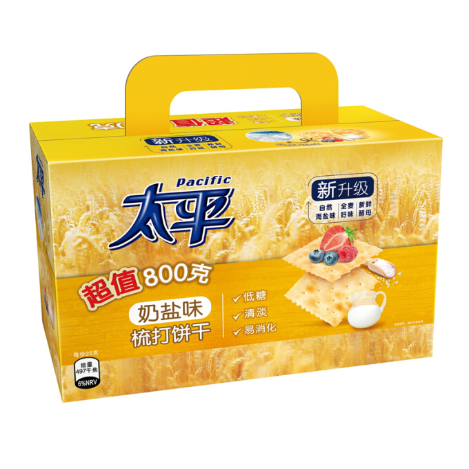 Pacific  太平  无蔗糖奶盐味酵母苏打饼干 手提礼盒量贩装  800g *6件
