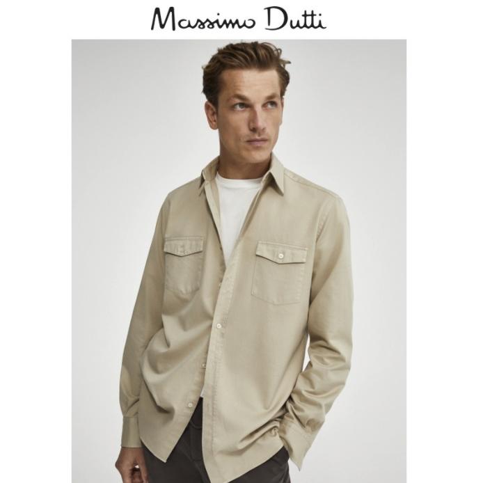Massimo Dutti 00102303710 男装标准版双口袋棉质衬衫