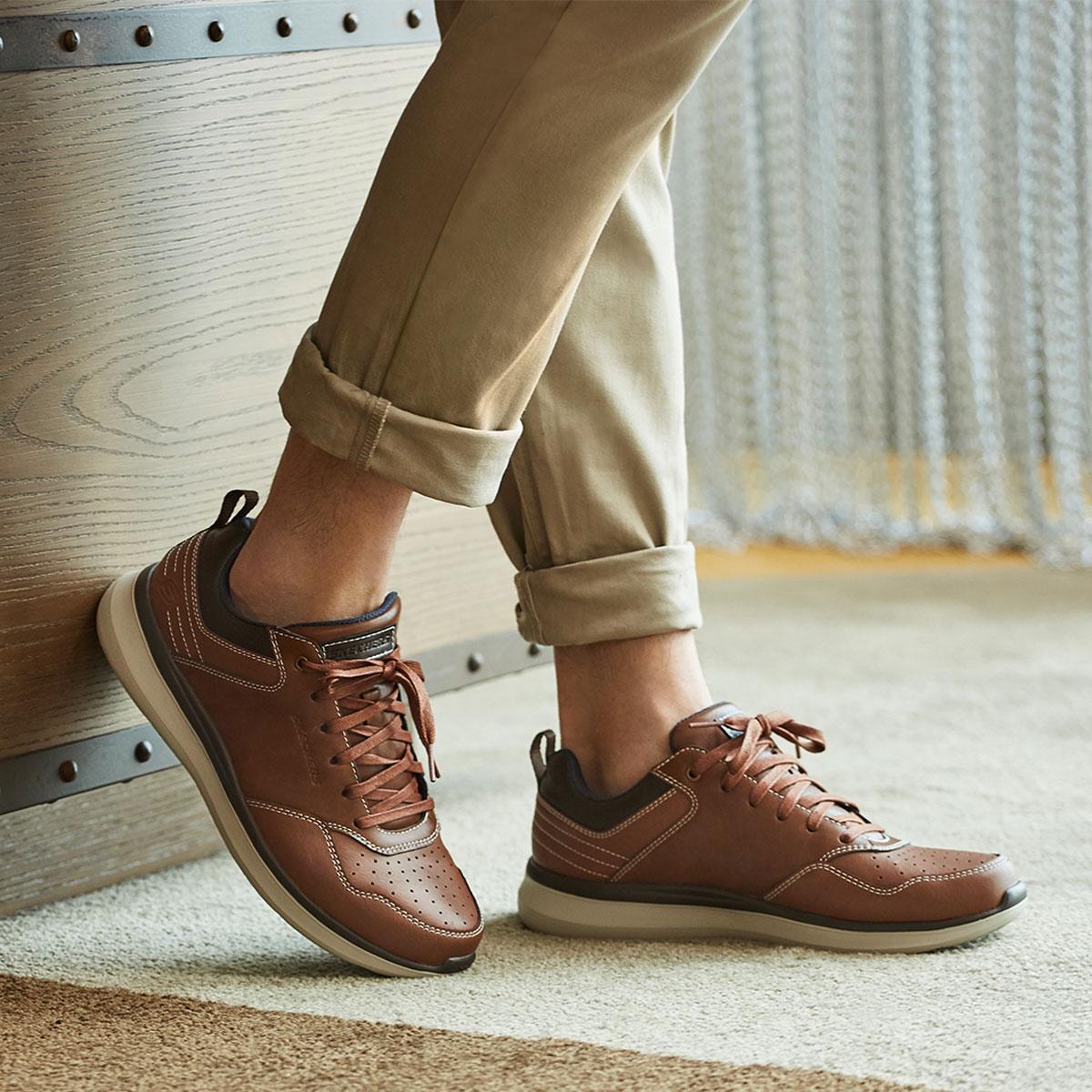 SKECHERS 斯凯奇 66439-BRN 男士绑带时尚休闲鞋