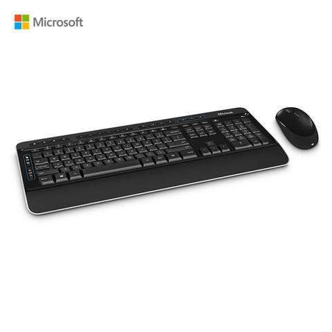 微软无线蓝影桌面套装3050 黑色  无线带USB收发器 加密键盘 蓝影对称鼠标 软垫掌托 自定义快捷键 办公键鼠