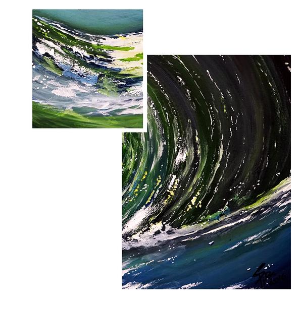 MO 斯皮诺斯丙烯画系列《海浪》原作无框 装饰画挂画