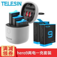 TELESIN GoPro9 8电池充电器Hero7 6配件三充双充内存卡读写收纳式电池充电盒套装 gopro9 allinbox两电一充