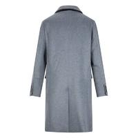 法国PERIGOT新款男式中长款灰色羊毛呢料大衣外套小众设计感