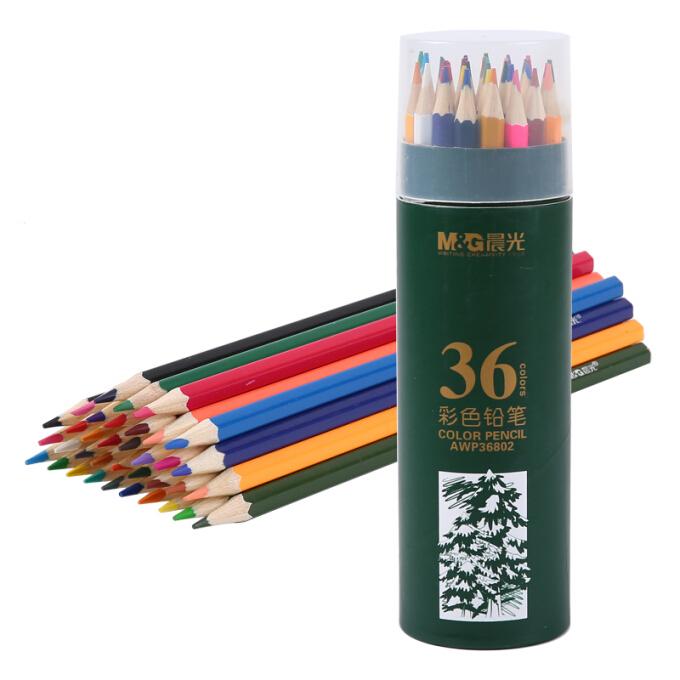 M&G 晨光 AWP36802 绿色PP筒装系列 彩色铅笔 36色 36支/筒 *3件