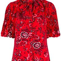 Madelyn red floral-print blouse