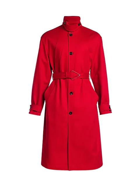 Heavy Cotton Twill Belted Trench Coat