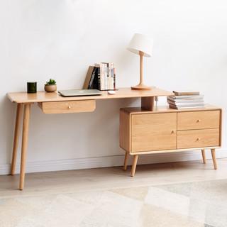 源氏木语实木转角书桌书架组合简约现代橡木电脑台式桌伸缩办公桌
