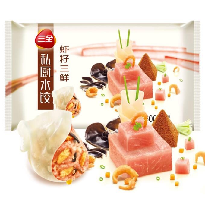 三全 私厨水饺 虾籽三鲜口味600g*6件+金鲳鱼900g(也可搭配牛羊肉等) +凑单品