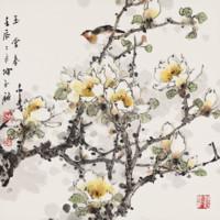 新中式背景墻裝飾畫國畫 陳永鏘《玉堂春》