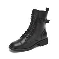 DAPHNE/达芙妮/新款春季2021合成革女士休闲方头鞋系带八孔粗跟拉链马丁靴女
