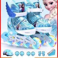 迪士尼溜冰鞋儿童全套装初学者中大童女童滑冰旱冰轮滑鞋3岁可调6