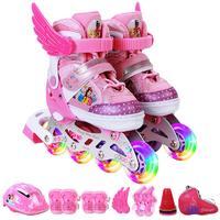 迪士尼溜冰鞋儿童全套装男女旱冰轮滑鞋直排轮初学者3-5-6-8-10岁送头盔护具小翅膀路障轮滑包