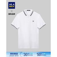 HLA海瀾之家2021夏季新品麥穗刺繡舒適透氣短袖POLO衫HNTPD2D095A