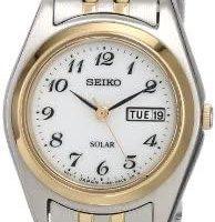 SEIKO 女式双色白色表盘连衣裙日历手表