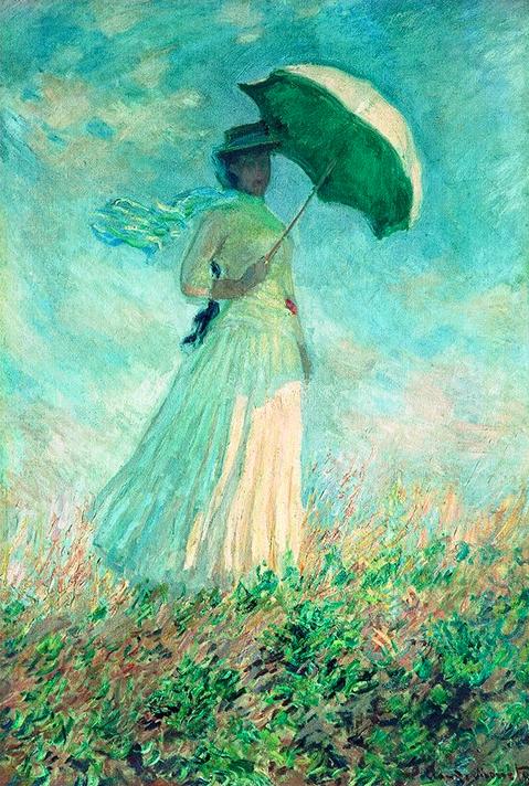 现代简约北美式欧式名人油画《阳伞下右转身的女人》 79×113cm