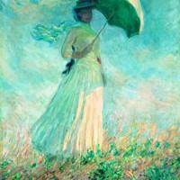 現代簡約北美式歐式名人油畫《陽傘下右轉身的女人》 79×113cm