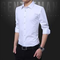 耐格斯顿 男士长袖衬衫 白色 M(多款可选)