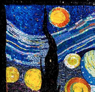 MO 非遺純手工珠繡裝飾畫《星空》珠繡 純手工 背景墻掛畫