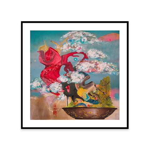 艺术版画创意家装 限量版画《玲珑盆景》装饰画620*620 mm
