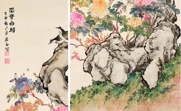 橙舍 中式客厅装饰画竖版 花鸟挂画国画 居廉富贵白头