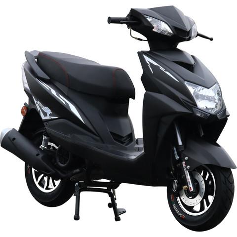 尚领摩托车踏板车125cc燃油车男女式省油机车外卖摩托车街车经济时尚越野车国四电喷可上牌 纯亮黑 *2件