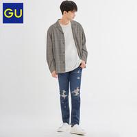 GU極優男裝緊身牛仔褲(水洗產品)2020秋季新款時尚潮流破洞 328302