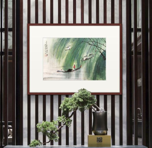 现代中式装饰画 国画 傅抱石 春风杨柳万千条