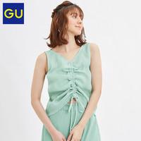 GU極優女裝百褶T恤(無袖)2020夏季新款時尚潮流系帶上衣322246
