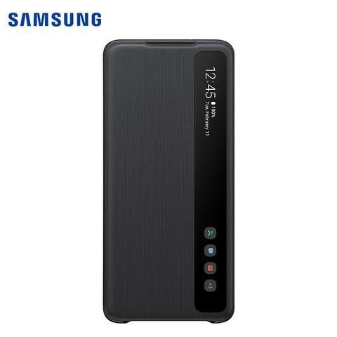 限地区:三星 SAMSUNG S20  原装镜面保护套 翻盖皮套 手机壳 保护壳 5G 来电显示 短信 黑色