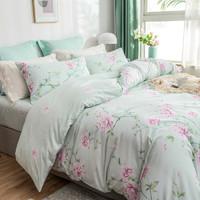 LOVO 乐蜗家纺 翩翩花语 纯棉床上四件套 1.8m床