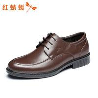 红蜻蜓 RED DRAGONFLY 时尚系带 正装皮鞋男  WTA57122 棕色 40